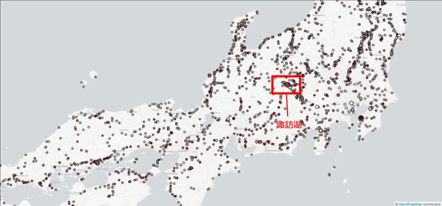 図4: 2018年8月15日の全国の異常メッシュ検出結果