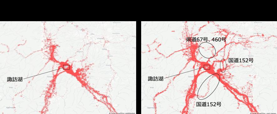 図6: 人口集中エリア来訪者の測位メッシュの分布